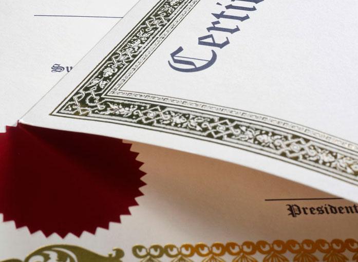 Certificado en papel